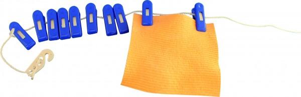 Wäscheleine mit 10 Rutscherklammern