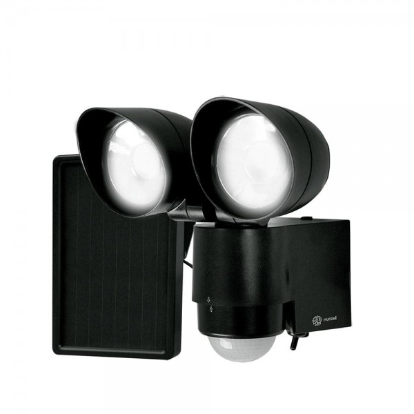 Searchlight LED with solar/motion sensor