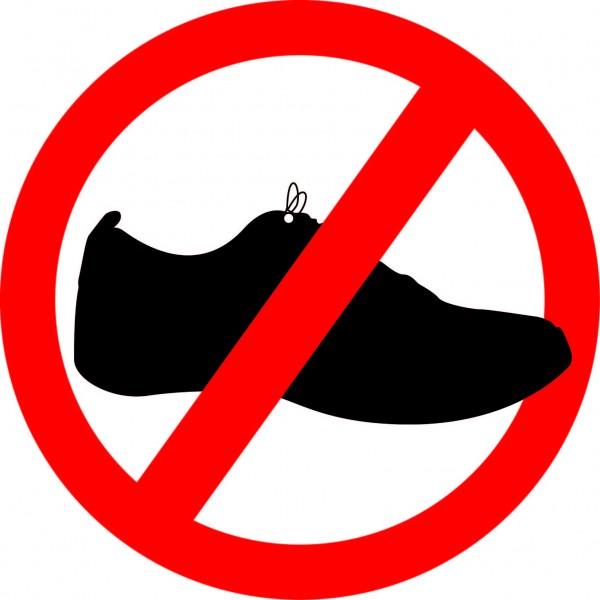 Aufkleber Schuhe verboten Ø 140 mm