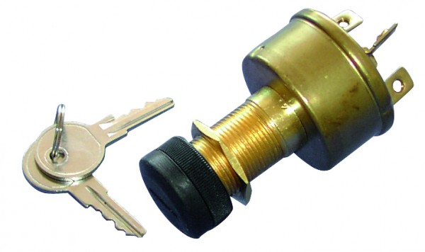 Ignition key, brass, 4 poles