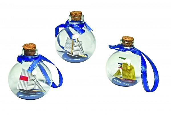 Flaschenschiff Weihnachtskugel 3er Set