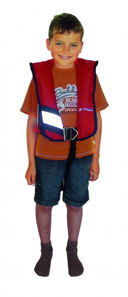 Navyline children automatic lifevest red with harness