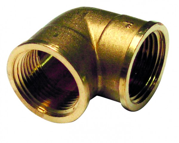 90° pipe elbow (female/female), brass